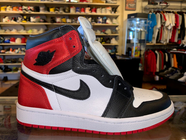 "Size 6.5 (8W) Air Jordan 1 Satin ""Black Toe"" Brand New"