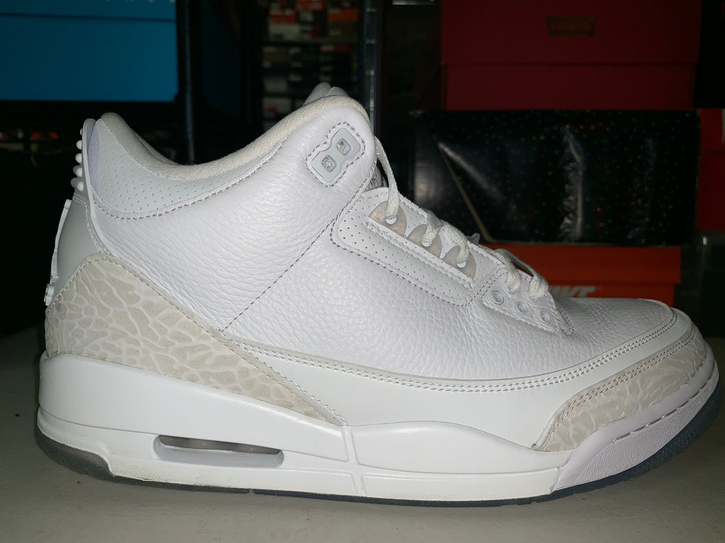 "Size 10.5 Air Jordan 3 ""Pure White"""
