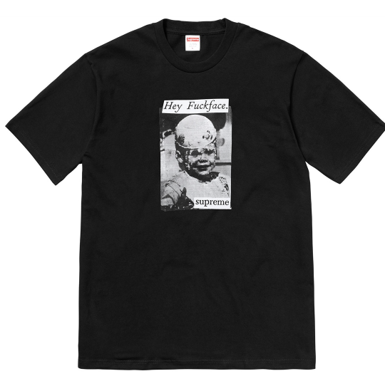 "Size Large Supreme Hey F***face Tee ""Black"""
