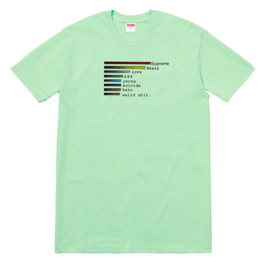 "Size Large Supreme Chart Tee ""Mint"""
