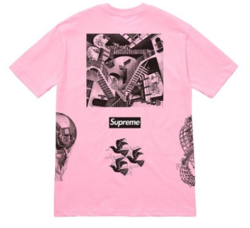 "Size Large Supreme MC Escher Collage Tee ""Pink"""