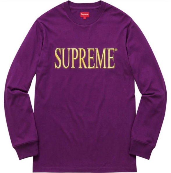 "Size Large Supreme Gold Logo Long Sleeve ""Purple"""