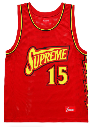 "Size Medium Supreme Bolt Basketball Jersey ""Red"""