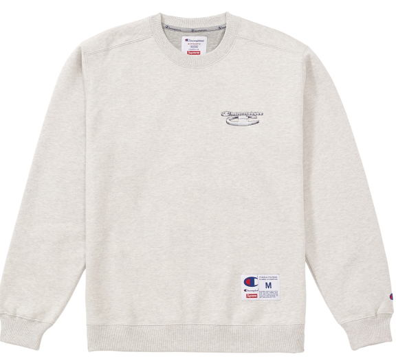 "Size Medium Supreme Champion 3D Metallic Crewneck ""Grey"""