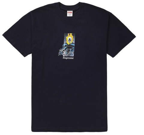 "Size Medium Supreme Ghost Rider Tee ""Navy"""