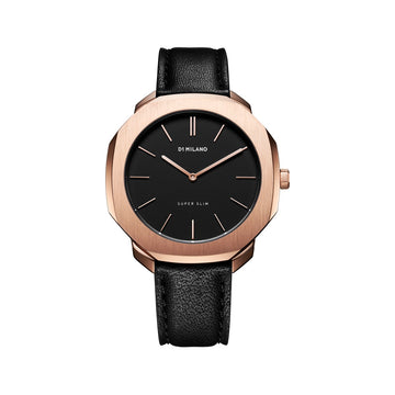 D1 Milano Rose Gold Super Slim Black Leather 36mm Front View