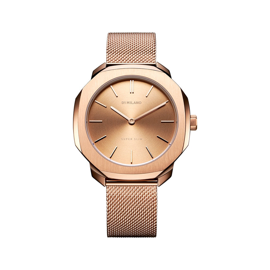D1 Milano Rose Gold Super Slim Milanese Bracelet 36mm Front View
