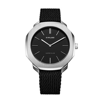 D1 Milano Super Slim Black Perlon 36mm Front View