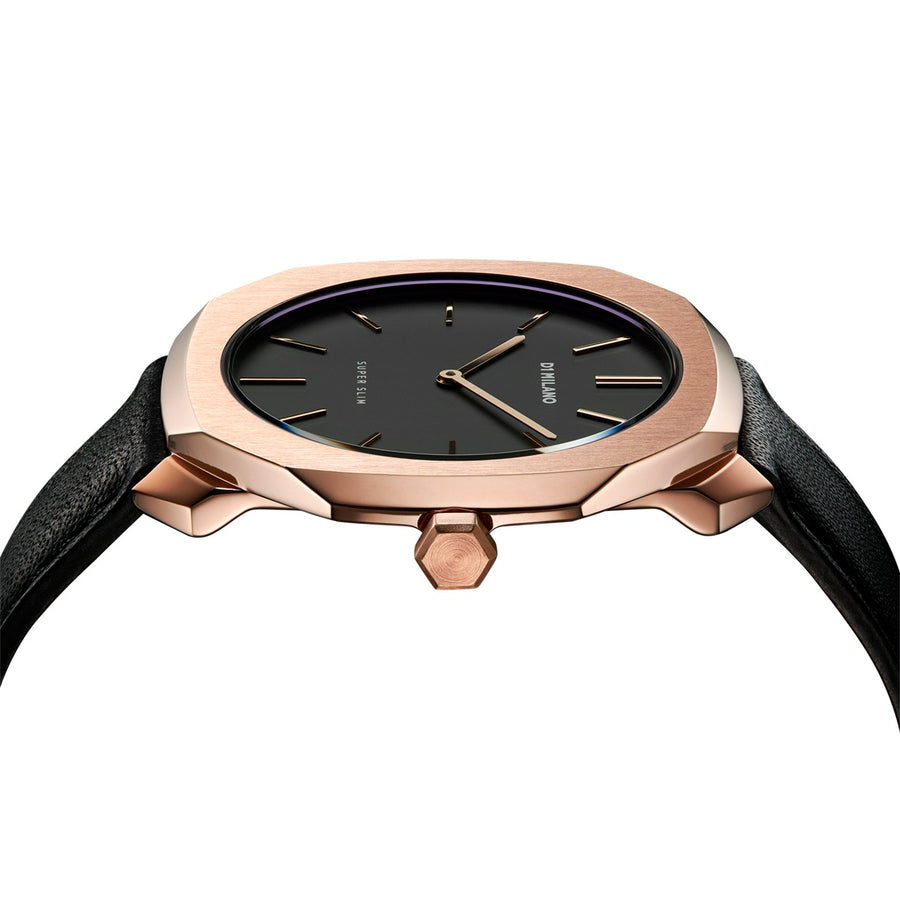 D1 Milano Rose Gold Super Slim Black Leather 36mm Side View