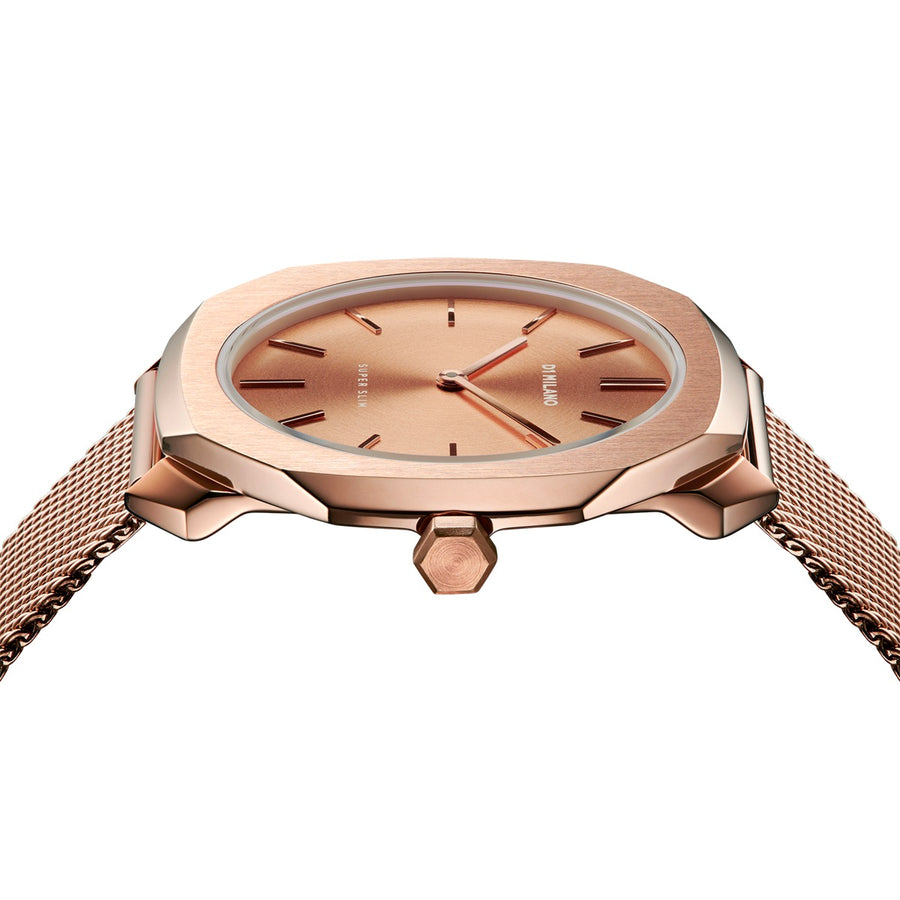 D1 Milano Rose Gold Super Slim Milanese Bracelet 36mm SIde VIew