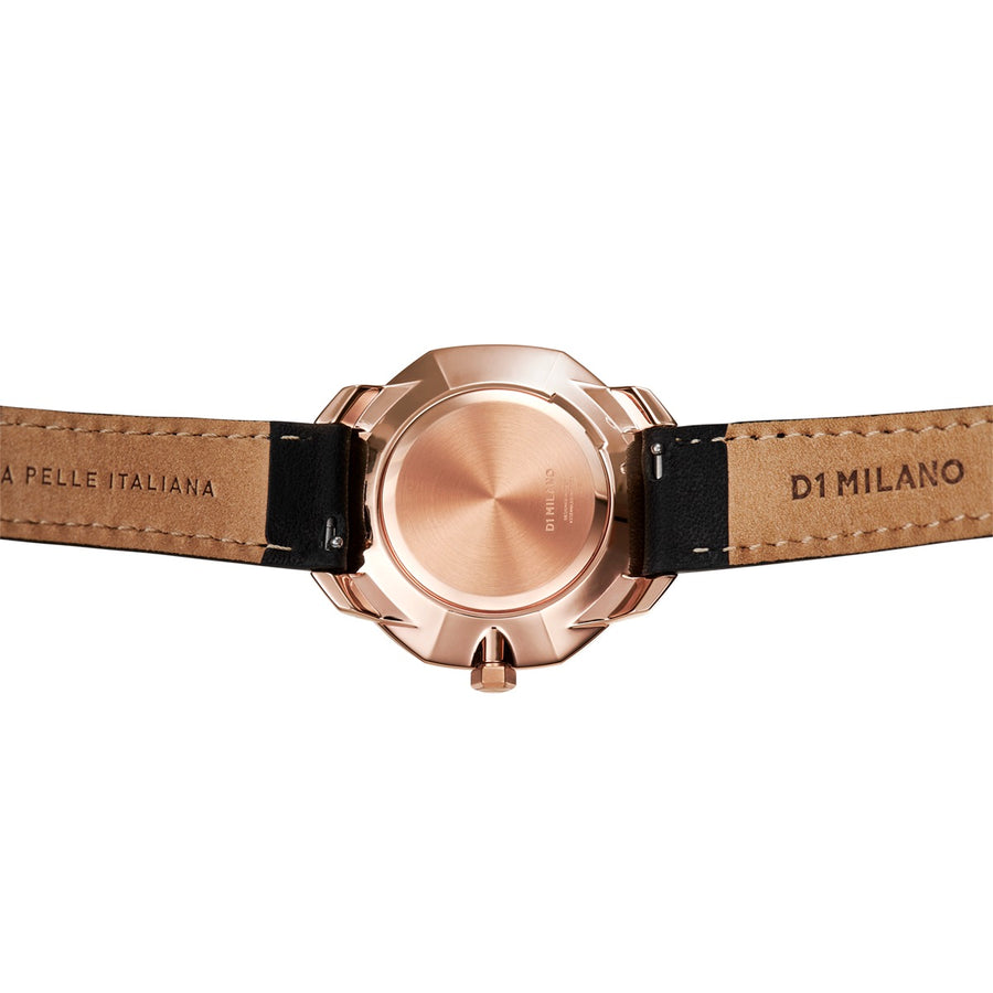 D1 Milano Rose Gold Super Slim Black Leather 36mm Back View