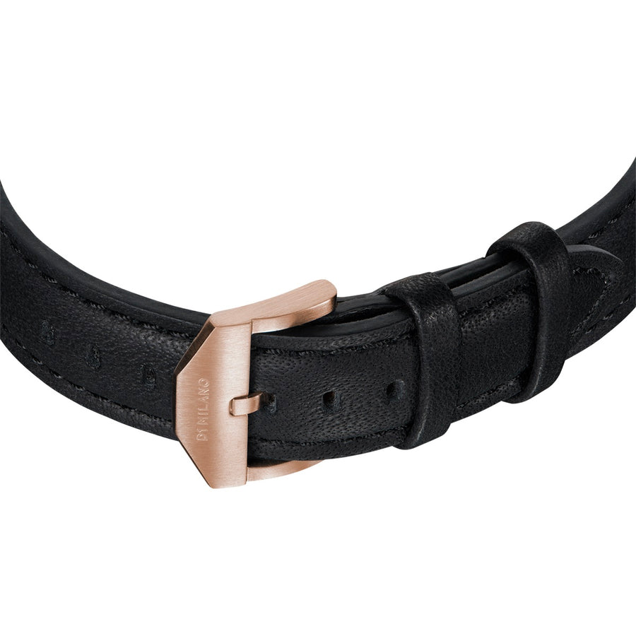 D1 Milano Rose Gold Super Slim Black Leather 36mm Buckle View