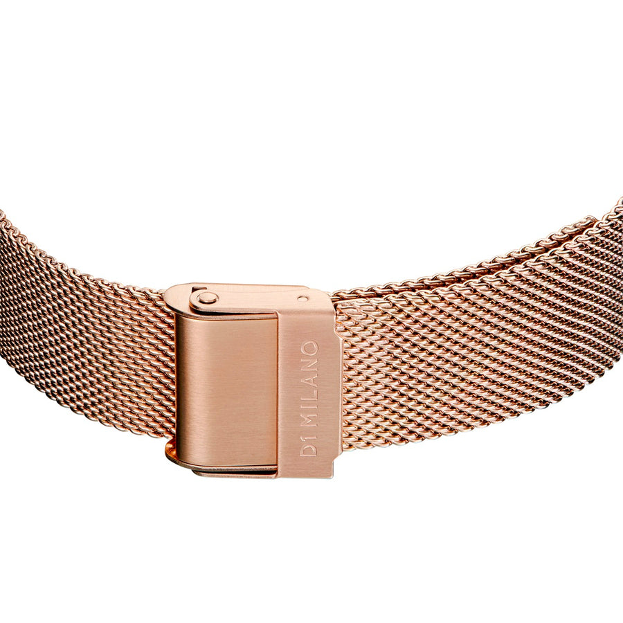 D1 Milano Rose Gold Super Slim Milanese Bracelet 36mm Buckle View