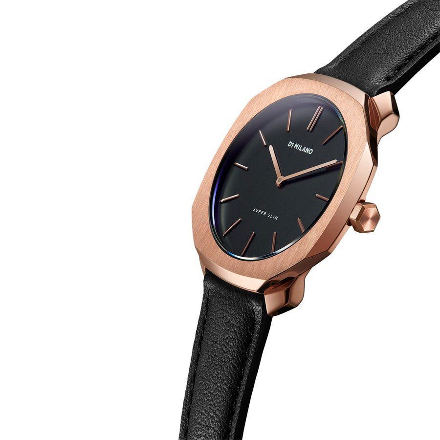 D1 Milano Rose Gold Super Slim Black Leather 36mm Model View