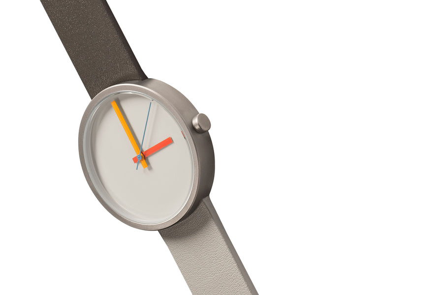 AÃRK Collective Multi Noon Grey Steel Leather 38mm Top View 2