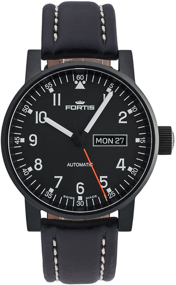 Fortis Spacematic Pilot Professional Black Leather Day/ Date Automatic 40mm front view