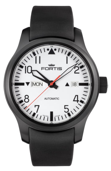 Fortis B-42 Black Steel Rubber Day/ Date Automatic 42mm front view