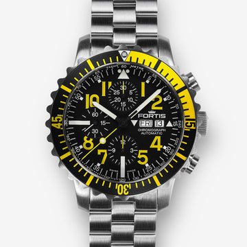 FORTIS B-42 MARINEMASTER YELLOW STEEL DAY/DATE AUTOMATIC 42MM