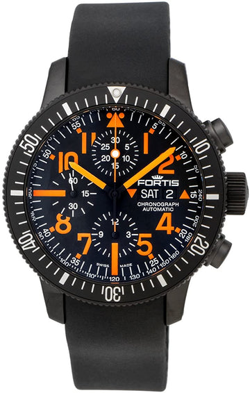 Fortis B-42 Mars 500 Black Titanium Leather Chronograph Automatic 42mm front view