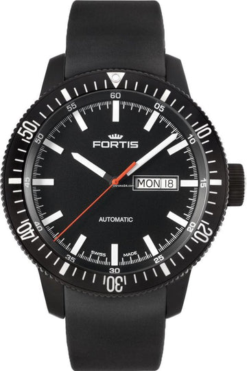 Fortis Monolith Black Steel Rubber Automatic 42mm front view