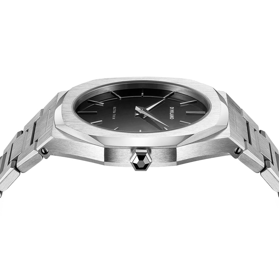 D1 Milano Silver Ultra Thin Bracelet 40mm Side View 1