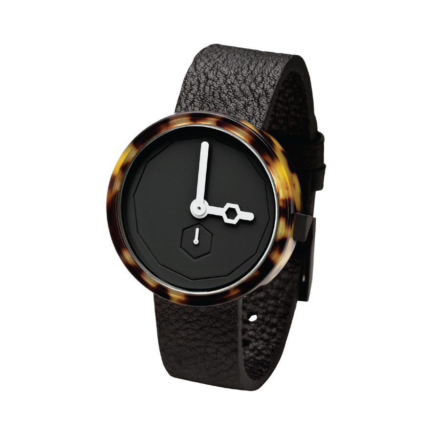 AÃRK Watch, Classic Tortoise - Black, Side View