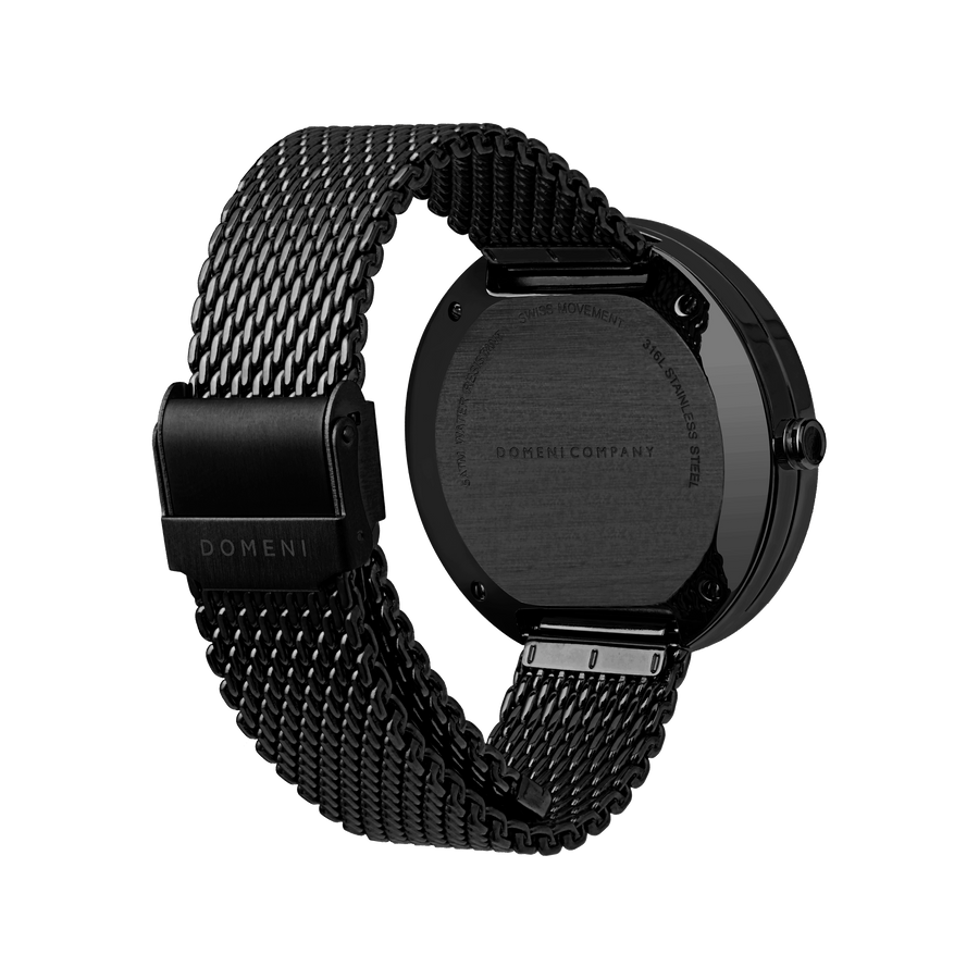 Domeni Co Signature Black Black Silver Milanese 40mm Back View