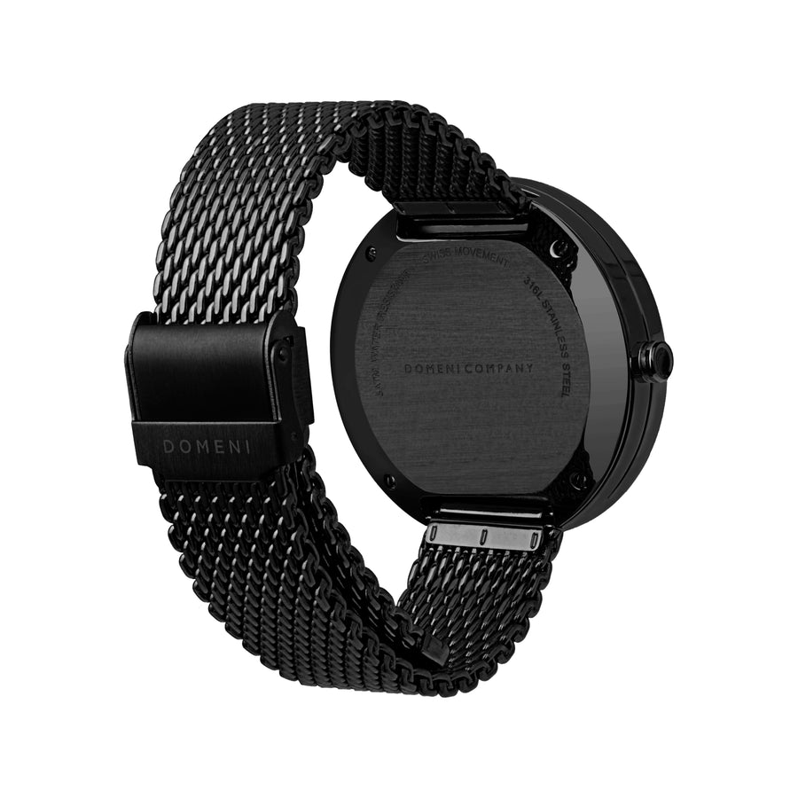 Domeni Co Signature Black Black Red Milanese 40mm Back View