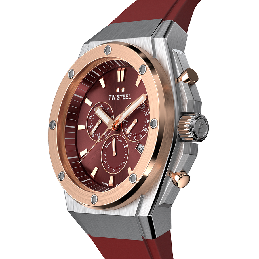 TW Steel Rose Gold Steel Red Silicon CEO Tech 44mm Side View