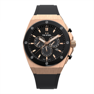 TW Steel Rose Gold Black Silicon CEO Tech 44mm Front View