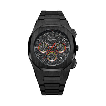 D1 Milano Burnout Chronograph Black Red Bracelet 41.5mm Front View