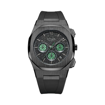 D1 Milano Burnout Chronograph Black Green Rubber 41.5mm Front View