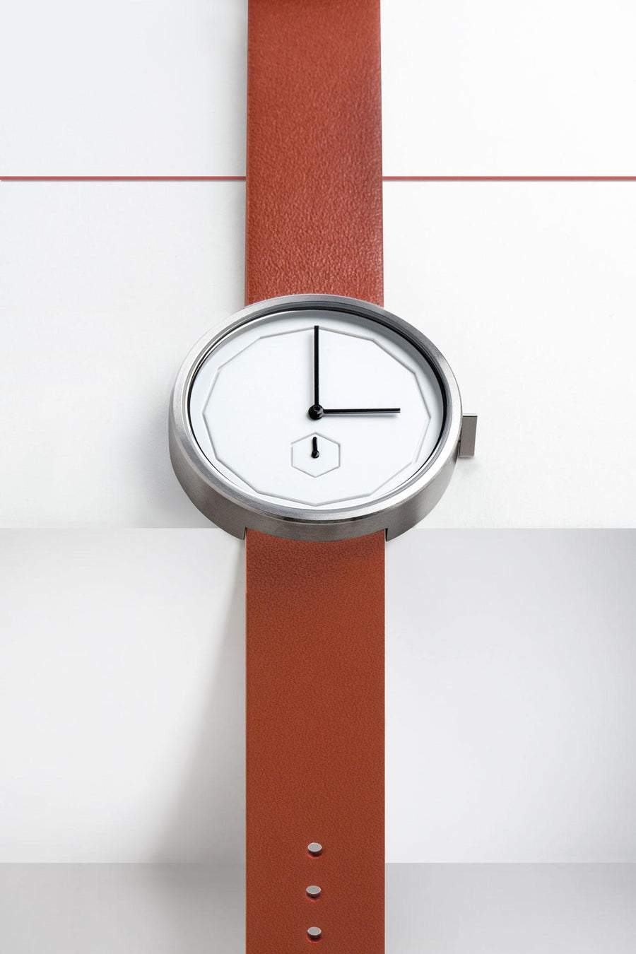 AÃRK Collective Classic Neu Steel Leather 38mm Top View