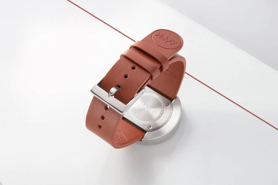 AÃRK Collective Classic Neu Steel Leather 38mm Back View