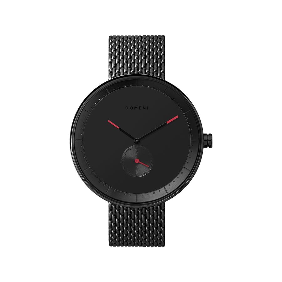 Domeni Co Signature Black Black Red Milanese 40mm Front View