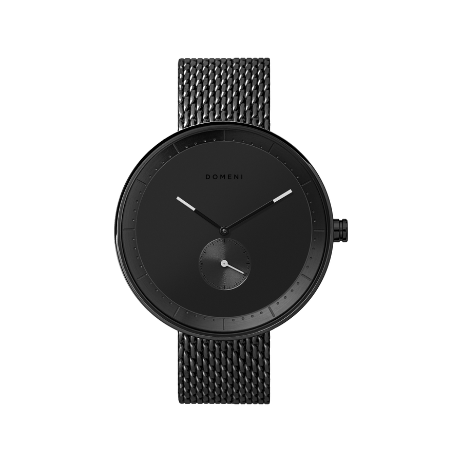 Domeni Co Signature Black Black Silver Milanese 40mm Front View