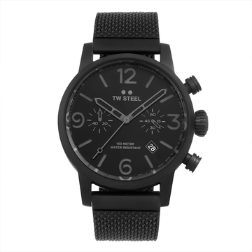 TW Steel Black Bracelet Maverick 45mm front view