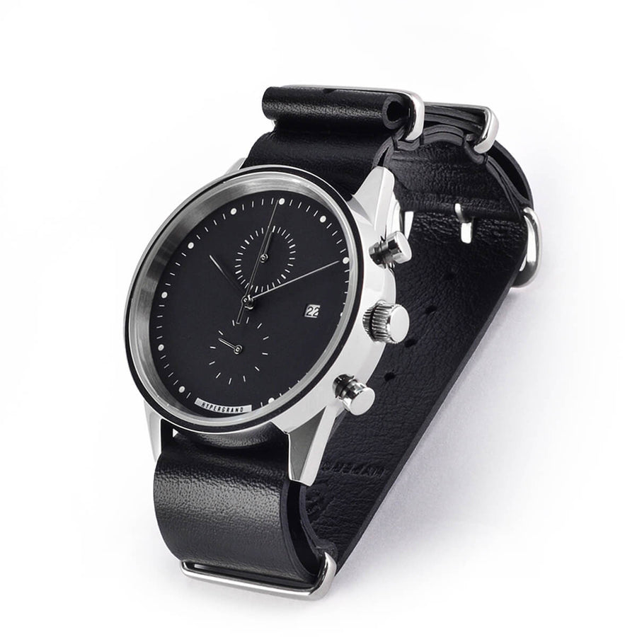 Hypergrand Watch, Chrono SilverBlack - Black Nato, Side View