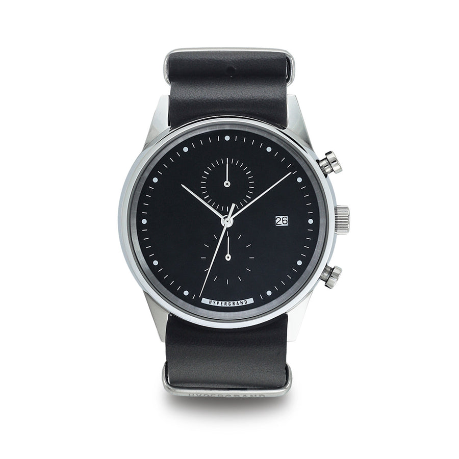 Hypergrand Watch, Chrono SilverBlack - Black Nato, Front View