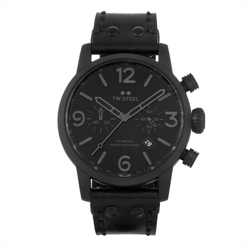 TW Steel Black Leather Maverick 45mm front view