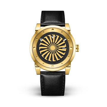 ZINVO BLADE 12K GOLD PLATED BLACK LEATHER 44MM