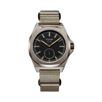 D1 Milano Commando Lawrence Khaki NATO 38mm Front View