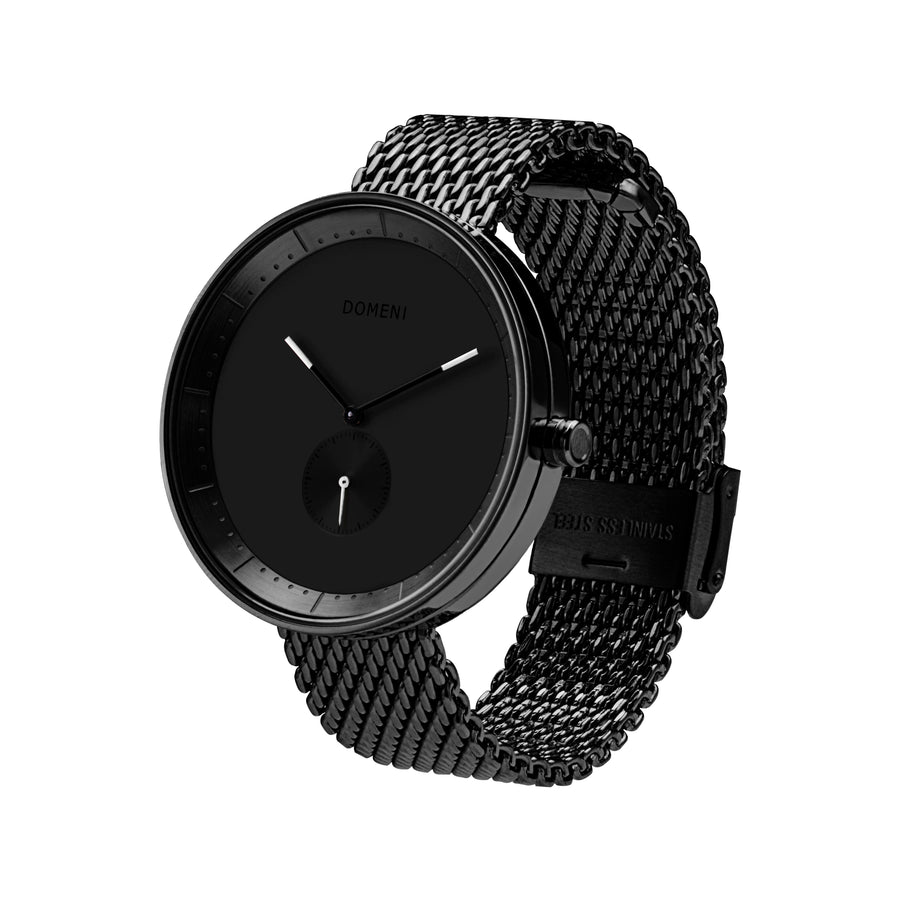 Domeni Co Signature Black Black Silver Milanese 40mm Side View