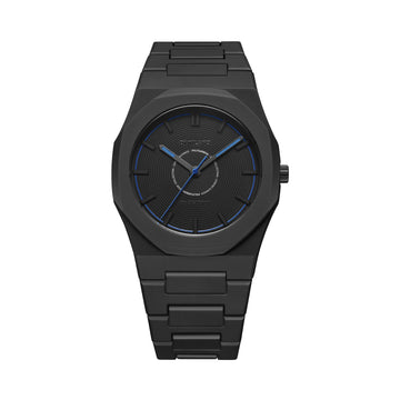 D1 Milano Watch Black Blue Polycarbon Bracelet 40.5mm Front View