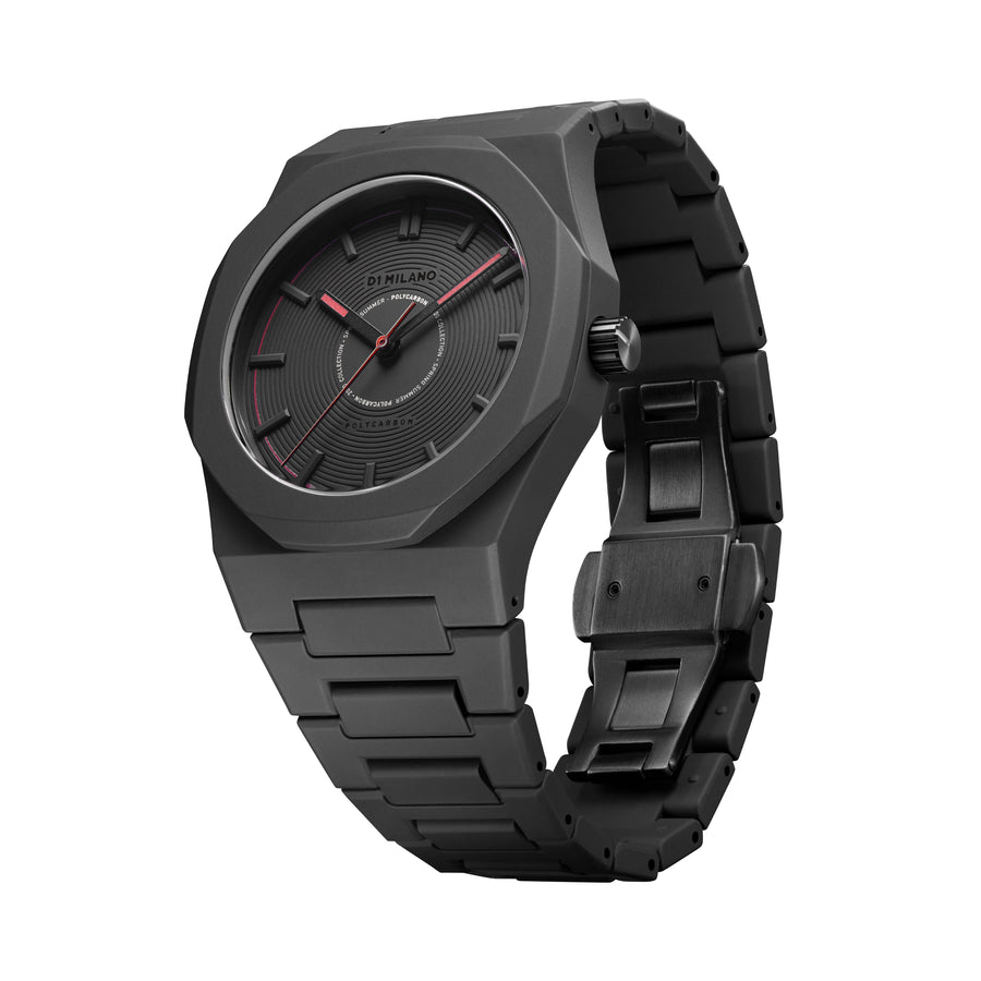 D1 Milano Watch Black Red Polycarbon Bracelet 40.5mm Side View 2