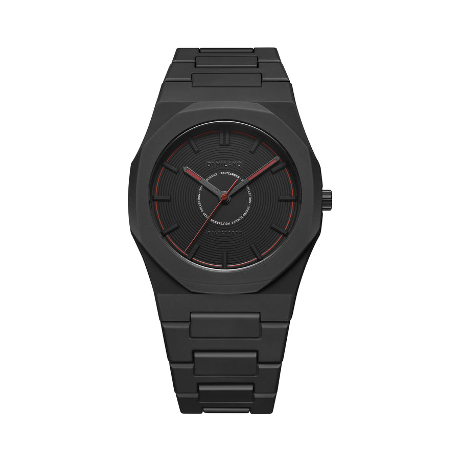 D1 Milano Watch Black Red Polycarbon Bracelet 40.5mm Front View