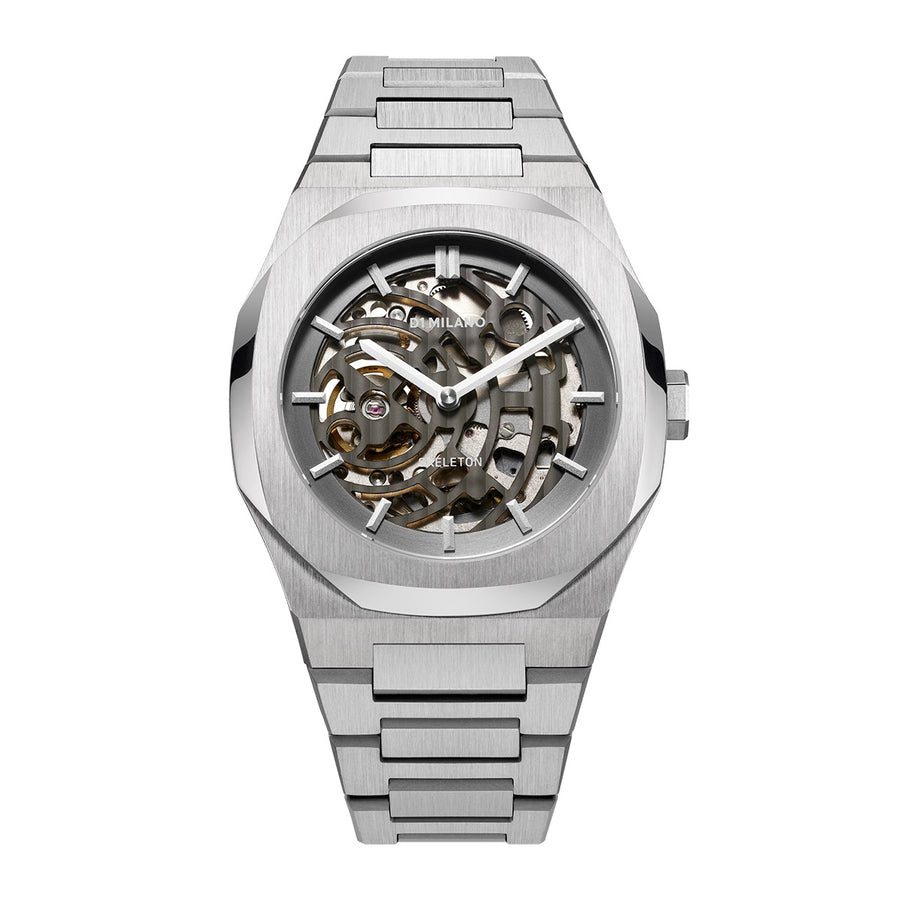 D1 Milano Silver Skeleton Bracelet 41.5mm Front View