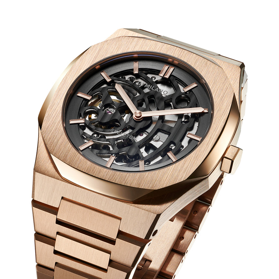 D1 Milano Rose Gold Skeleton Bracelet 41.5mm Top View