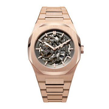 D1 Milano Rose Gold Skeleton Bracelet 41.5mm Front View