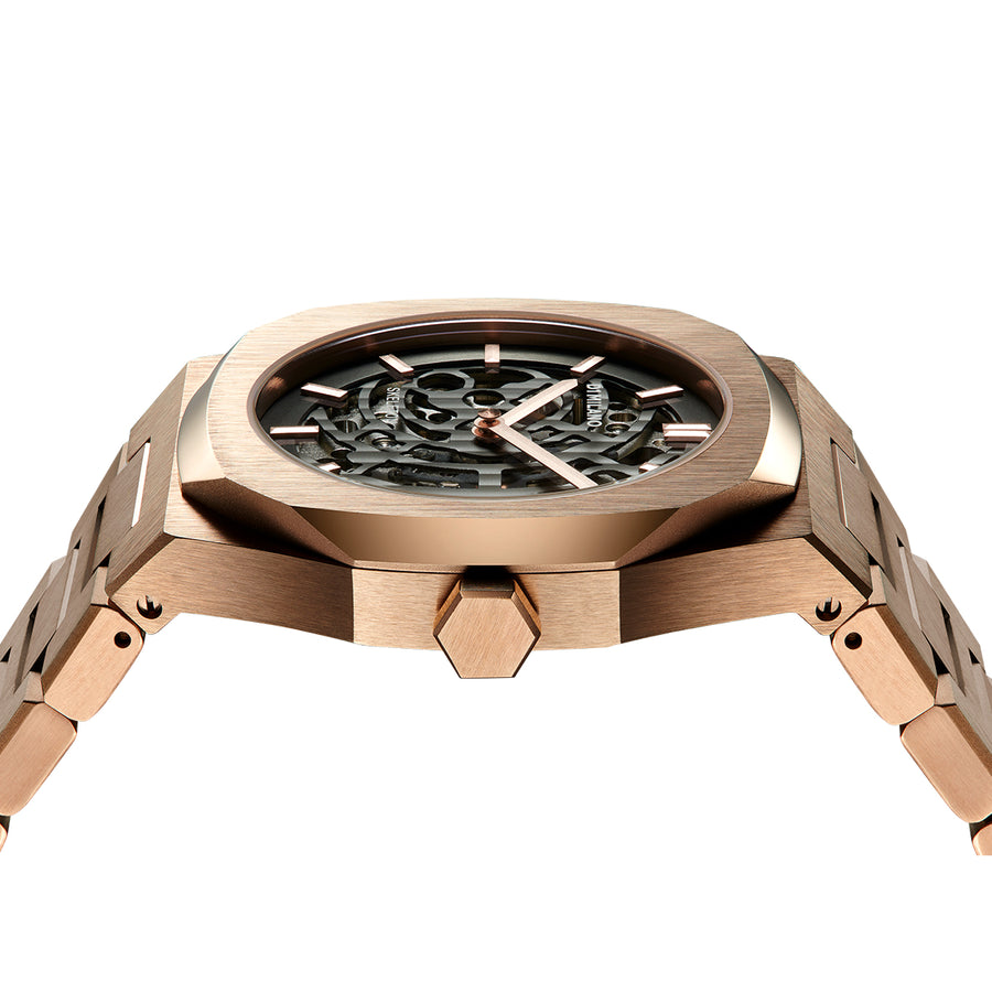 D1 Milano Rose Gold Skeleton Bracelet 41.5mm Side View